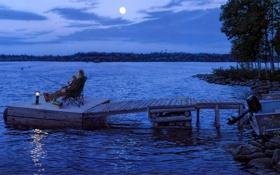 Обои ночь, река, луна, пристань, лодки, фонарь, рыбаки