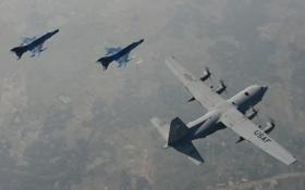 Обои F-7BG, полет, C-130H Hercules, авиация