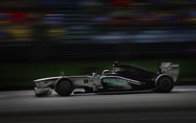 Обои ночь, гонка, формула 1, mercedes, болид, formula one, Singapore Grand Prix