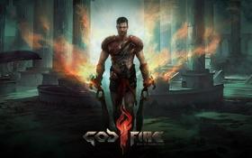 Обои оружие, огонь, рисунок, воин, мужчина, Android, мечи