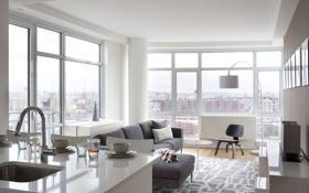 Обои дизайн, город, городская квартира, жилая комната, интерьер, стиль