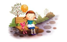Картинка скамейка, шарик, девочка