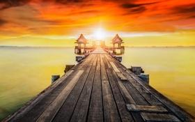 Обои Thailand, beach, bridge, bay, Wooded bridge