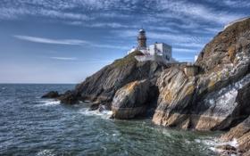 Обои море, скалы, побережье, маяк, Ирландия, Ireland, Howth