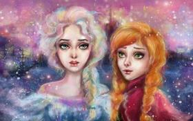 Картинка девушки, мультфильм, Frozen, Арт, art, холодное сердце, manulys