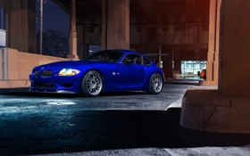 Обои BMW, Front, Custom, Sport, Bridge, Blue, Nigth