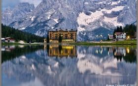 Картинка горы, озеро, отражение, дома, Италия, Cadore Lake Misurina