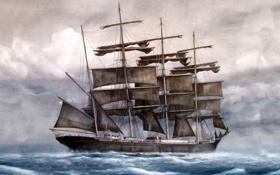 Обои Море, Рисунок, Корабль, Паруса, Живопись, Черные, Барк