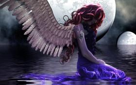Картинка девушка, звезды, ночь, лицо, отражение, фантастика, луна