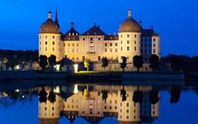 Обои небо, ночь, огни, озеро, замок, башня, Германия