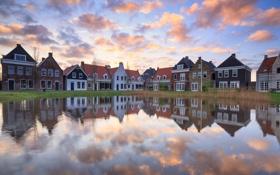 Картинка зима, небо, вода, облака, отражения, дома, Нидерланды