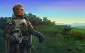 Обои замок, кони, меч, арт, шлем, мужчина, всадники