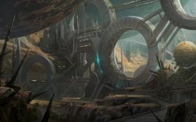 Обои планета, сооружение, кольца, станция, арт, фантастический мир