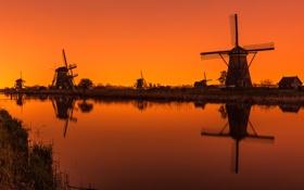 Обои канал, зарево, Нидерланды, ветряная мельница, Киндердайк