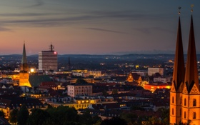 Обои ночь, город, фото, дома, Германия, Sparrenburg