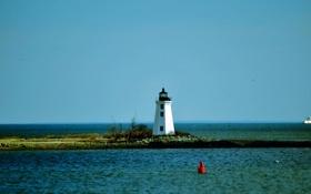 Картинка море, небо, вода, пейзаж, природа, берег, маяк