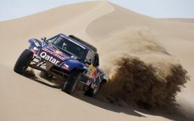 Обои Песок, Пустыня, Гонка, Red Bull, Rally, Dakar, Передок