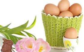 Обои фото, Шоколад, Тюльпаны, Кролики, Пасха, Яйца, Корзинка