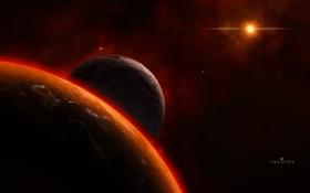 Обои planet, satellite, star, universe, space