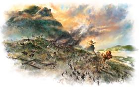 Картинка горы, озеро, дым, взрывы, арт, битва, сражение