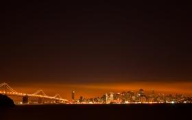 Обои небо, вода, ночь, мост, город, огни, здания