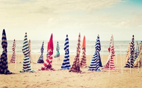 Картинка зонты, пляж, песок, небо, Разное
