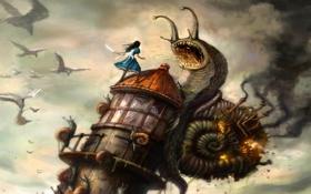 Обои дом, улитка, нож, алиса, Alice, Madness Return