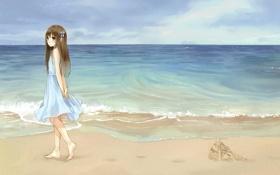 Обои песок, море, пляж, небо, девушка, аниме
