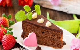 Картинка сердце, шоколад, клубника, торт, пирожное, cake, мята