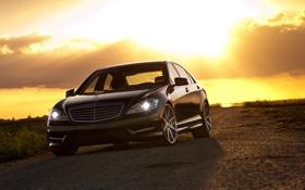 Картинка небо, закат, чёрный, Mercedes-Benz, black, S550, передняя часть