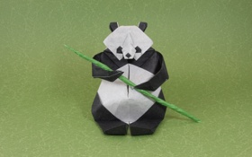 Обои зеленый, green, ветка, бамбук, панда, оригами, bamboo