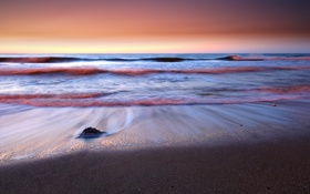 Картинка море, волны, рассвет, берег, камень, Аргентина