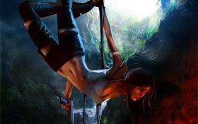 Картинка взгляд, вода, девушка, лицо, пистолет, оружие, волосы