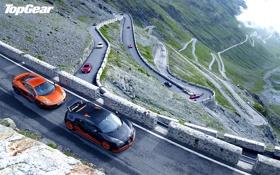 Картинка дорога, горы, Top Gear, облака.