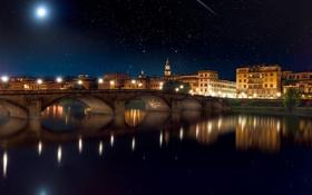 Обои ночь, мост, город, дома