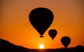 Обои небо, солнце, закат, горы, воздушный шар, силуэт, Турция
