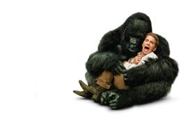 Картинка человек, ситуация, обезьяна, горилла, белый фон, кричит, Так себе каникулы