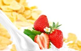 Обои ягоды, молоко, клубника, хлопья