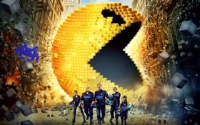 Обои пришельцы, фантастика, Josh Gad, Кевин Джеймс, вторжение, Adam Sandler, Мишель Монаган