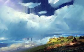 Обои камни, облака, арт, зелень, человек, цветы