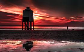 Обои море, пляж, небо, облака, закат, отлив