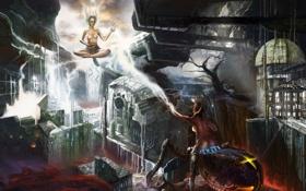 Картинка город, девушки, магия, провода, молния, робот, паук