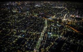 Обои ночь, огни, здания, дома, Япония, освещение, Токио