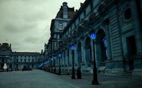 Картинка площадь, фонари, лувр