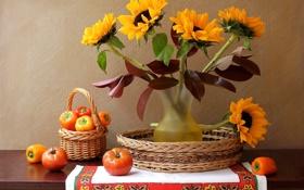 Обои цветы, ваза, перец, натюрморт, корзинка, овощи, помидор