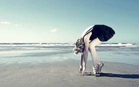 Обои прибой, берег, балерина