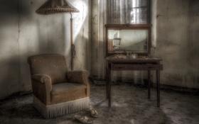 Обои лампа, кресло, зеркало