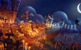 Обои ночь, дети, мультфильм, кладбище, The Book of Life