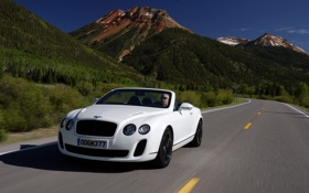 Обои Авто, Bentley, Continental, Дорога, Горы, Белый, Кабриолет