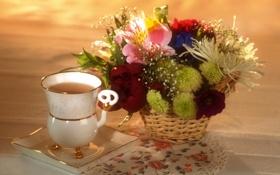 Картинка цветы, настроение, чай